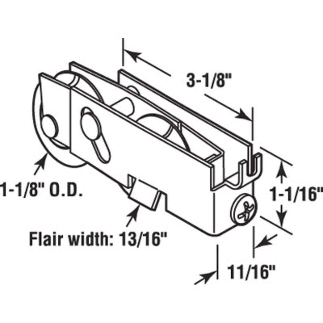 D1551B 10 CRL 1-1//8 Tandem Sliding Glass Door Roller With 11//16 Wide Housing for Pacific Doors Bulk Pack