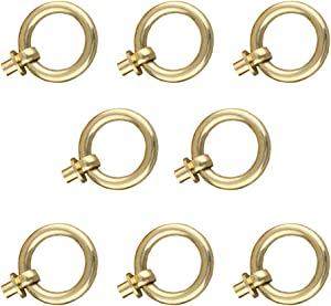 Tiazza 8Pcs Antique Brass Ring Pull Handle Kitchen Cabinets Wardrobe Drawer Furniture Hardware Retro Style Small Pull Ring (Gold)