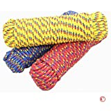 "3/8"" x 100' Diamond Braided Polypropylene Rope, Multi-Color (Various: Red, Yellow, Green, or Blue): High Visibility, Lightweight, Floats, Mold-Resistant"