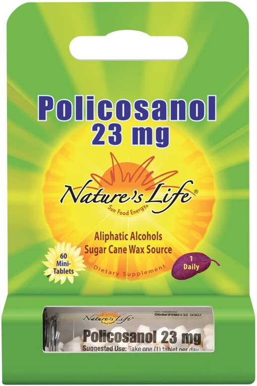Nature's Life Policosanol 23mg | Support for Cardiovascular Health, Blood Circulation & Healthy Heart Function | 60 Tabs