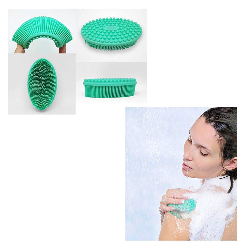 Face /& Body Gentle Scrub Skin Exfoliation Massage Nubs Improve Cellulite Silicone Bath /& Shower Loofah Brush Scrubber Cleansing Blackhead Removing Facial Cleansing Brush Green