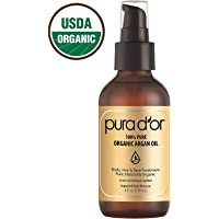 PURA D'OR (4 oz) Organic Moroccan Argan Oil 100% Pure Cold Pressed, USDA Certified Organic Anti-Aging Moisturizer Treatment for Face, Hair, Skin & Nails, Men & Women (Packaging may vary)