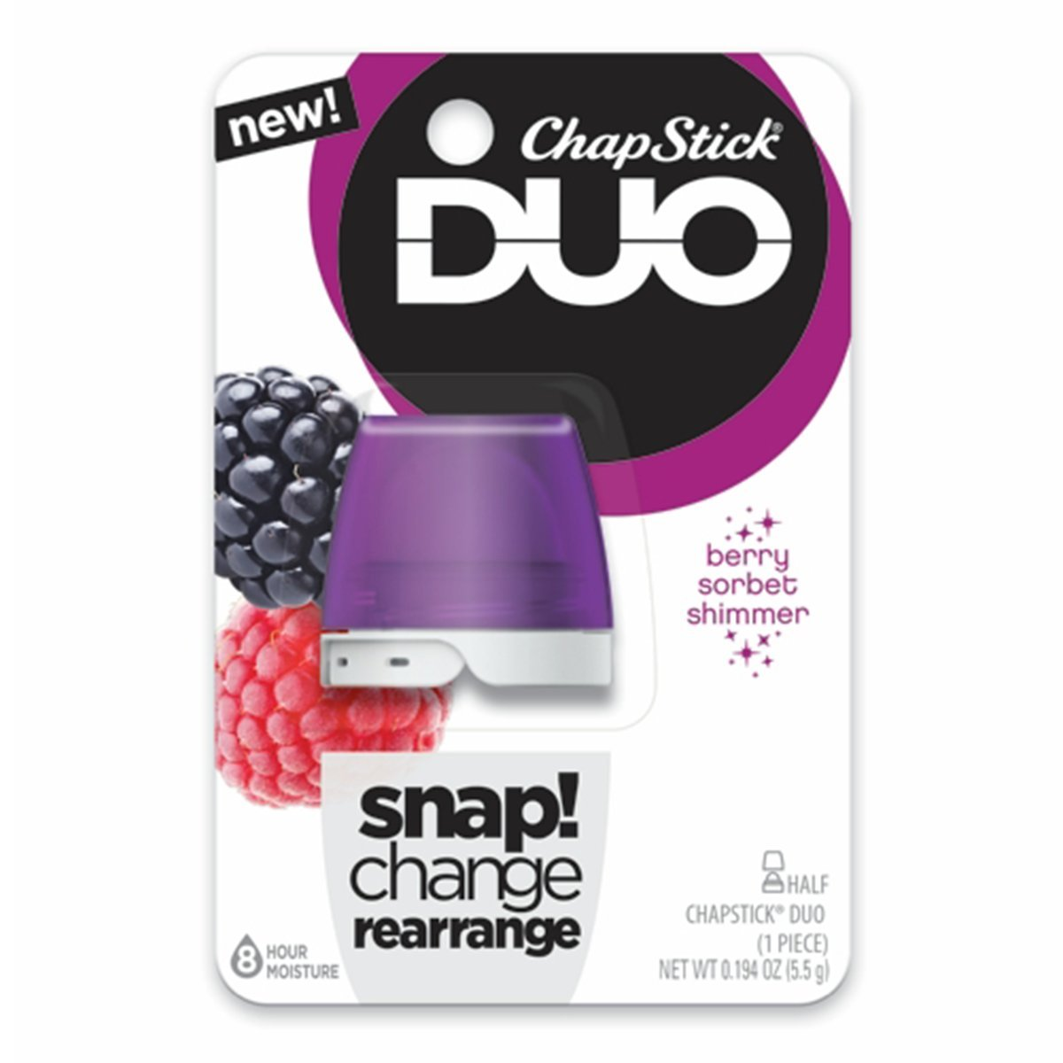 ChapStick DUO (Berry Sorbet Shimmer Flavor, 1 Blister Pack of 1 Piece) Half Lip Balm, 8 Hour Moisture, 0.194 Ounce