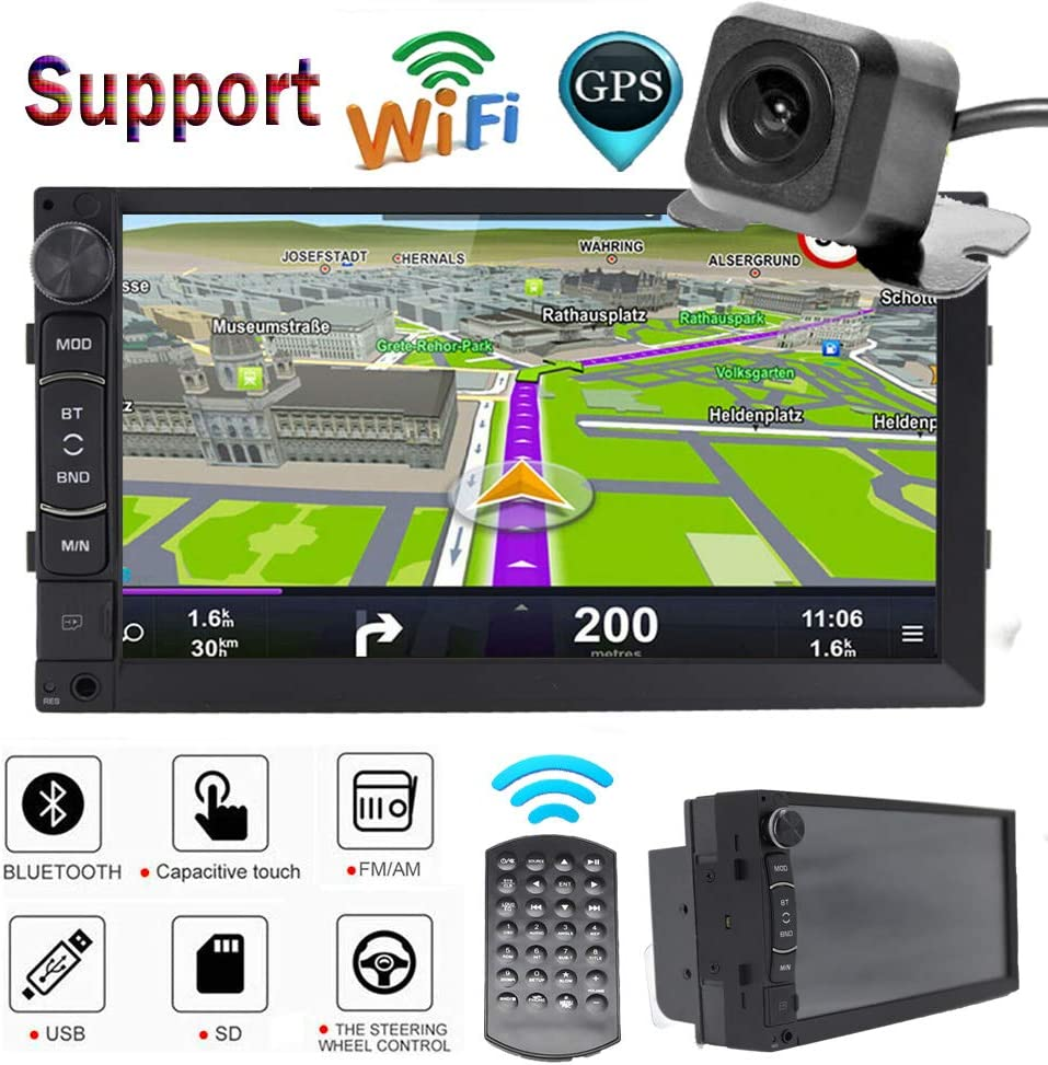 7/'/' HD Bluetooth Touch Screen Car Stereo Radio FM//MP5//MP3//USB//AUX+GPS Navigation