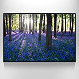 Visual Art Decor XLarge Purple Forest Canvas Wall Art Prints Home Decoration Trees Landscape Photograph Picture Prints with Frame (Purple Forest, 32''x48'' Black Frame)