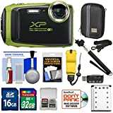 Fujifilm FinePix XP130 Shock & Waterproof Wi-Fi Digital Camera (Lime) with 32GB Card + Battery + Cases + Float Strap + Selfie Stick + Kit