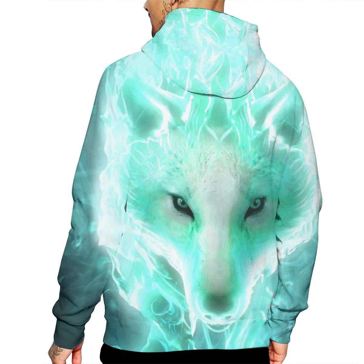 Fantasy Wolf Mans Long Sleeve Hoodie Casual Pocket Hooded Sweatshirt