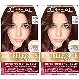L'Oréal Paris Excellence Créme Permanent Hair Color, 4AR Dark Chocolate Brown, 2 COUNT 100% Gray Coverage Hair Dye