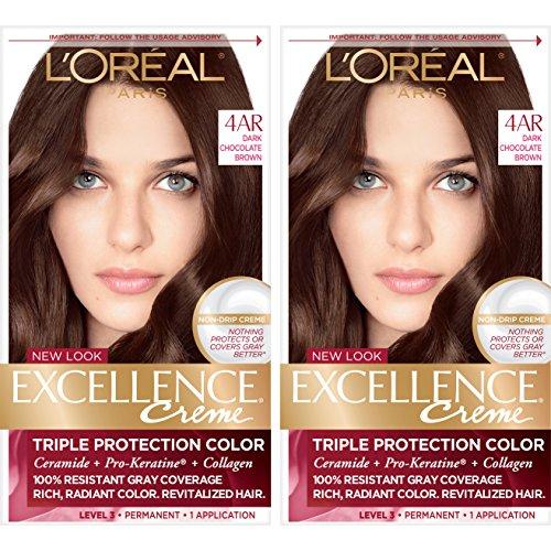 L'Oréal Paris Excellence Créme Permanent Hair Color, 4AR Dark Chocolate Brown, 2 COUNT 100% Gray Coverage Hair - Excellence Chocolate Dark