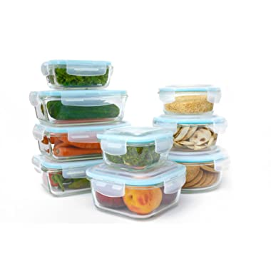 Glass Food Storage Container Set - 18 Piece Set (9 containers, 9 lids) with Easy Snap Lids by Western Ridge Products