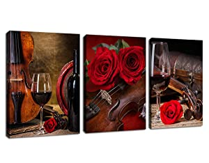 """Canvas Wall Art Kitchen Wall Decor Contemporary Wall Art Violin Rose Red Wine Cup Musical Instrument Pictures Bathroom Living Room Bedroom Canvas Artworks Framed Ready to Hang 12"""" x 16"""" x 3 Pieces"""