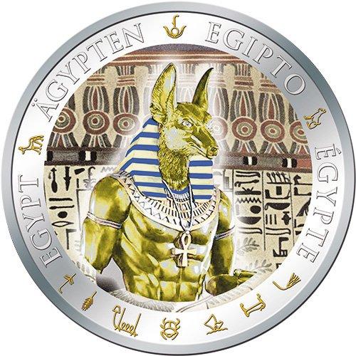 ANUBIS Gilded Ancient Egypt Silver Coin 1$ Fiji 2012 Pièce Monnaie