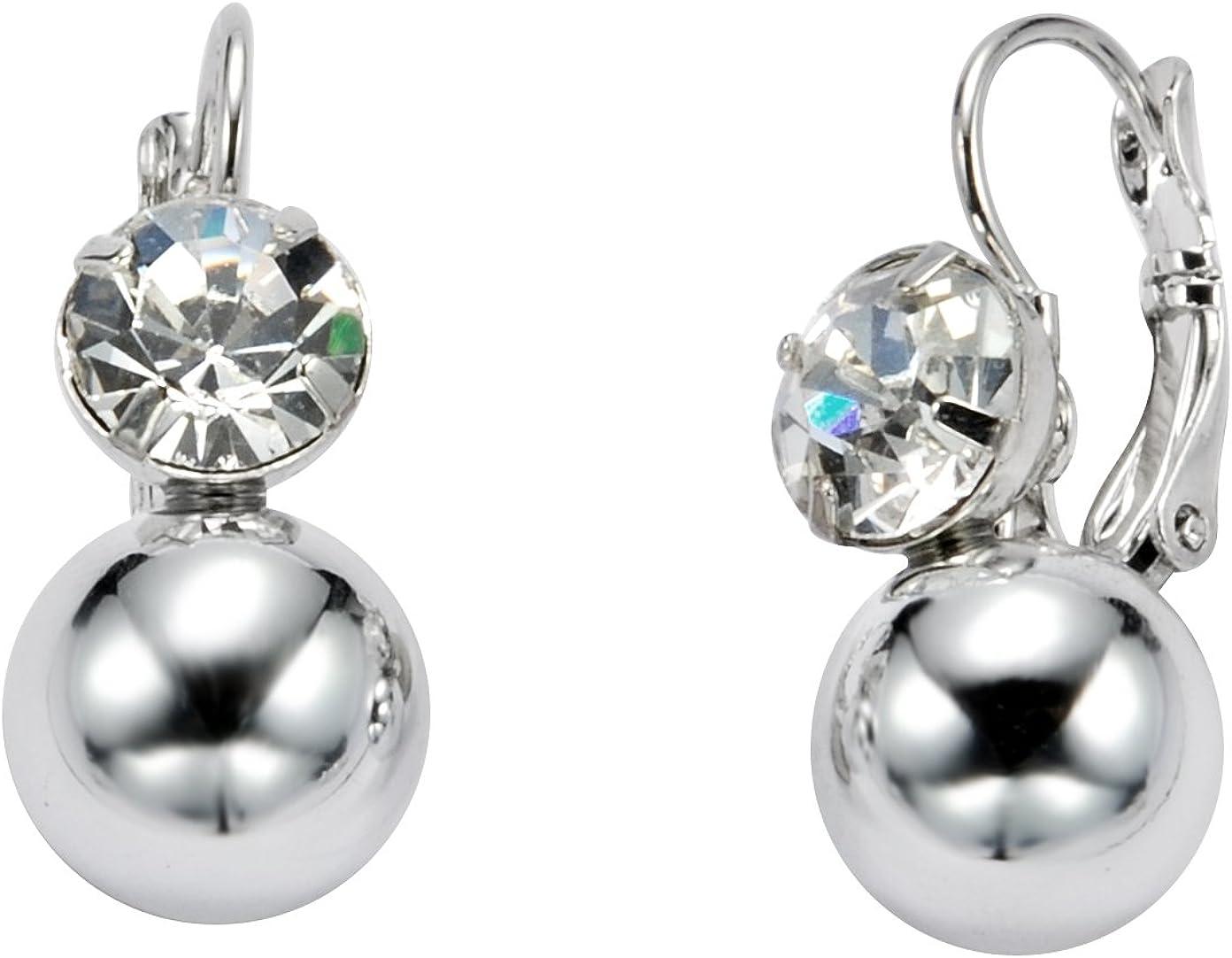 Kleine elegante Pendientes Plata Colores con Piedra de cristal–joyas
