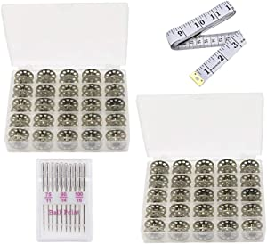 Metal Sewing Machine Bobbins 50 pcs - Size A Class 15 Bobbins in Cases Compatible with Most Home Sewing Machines - Premium Quality Sewing Bobbins - Brother Singer Kenmore Babylock Janome - by LiWiTen