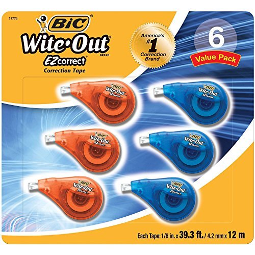 6 pk Bic Wite Out Correction Tape by BIC America
