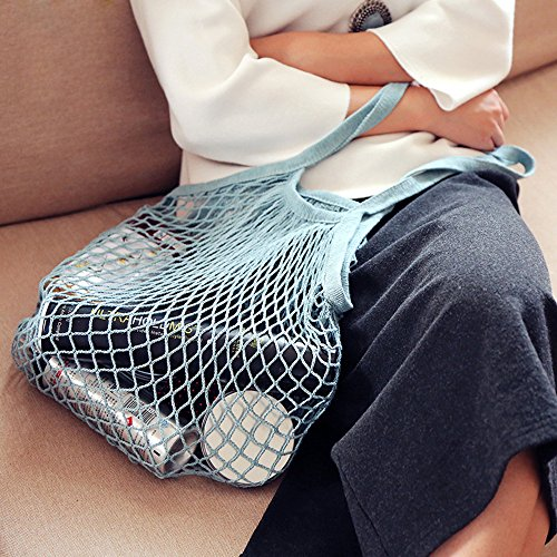 - CCFAMILY Reusable Fruit String Grocery Shopper Cotton Tote Mesh Woven Net Shoulder Bag