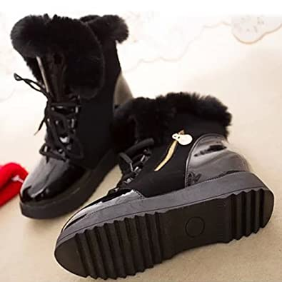fd6b3840a602a MEXI Women Winter Warm Lace Up Ankle Snow Boot Flat Heel Fleece Lined Size  36-40: Amazon.co.uk: Shoes & Bags