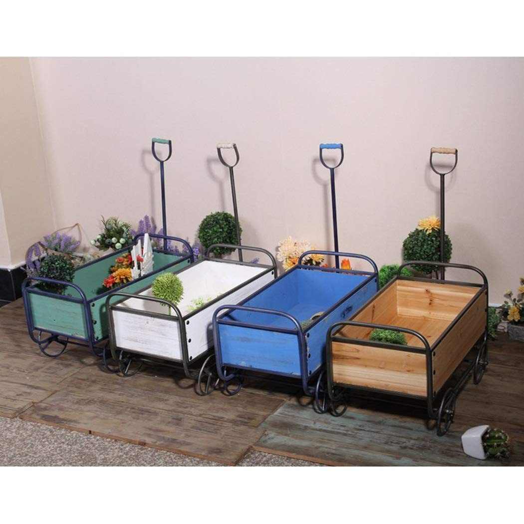 YONGYONG Float Flower Stand American Retro Wind Wooden cart Home Garden Storage handling Tool Decorative Ornaments 52.53629.5cm (Color : Blue, Size : 52.53629.5cm) by YONGYONG (Image #4)