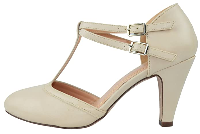 1930s Style Shoes – Art Deco Shoes Ivory Mary Jane T-Strap Round Toe Pump $33.12 AT vintagedancer.com