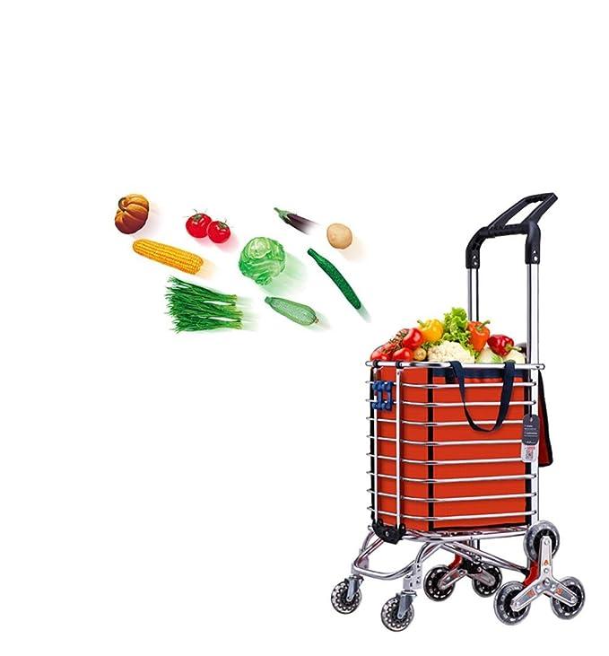 Cesta Carro de la Compra Escalera Escalada Mercado de los Agricultores Carro Escalera Escalada Multipropósito Supermercado plegable 8 Rueda , Orange: ...