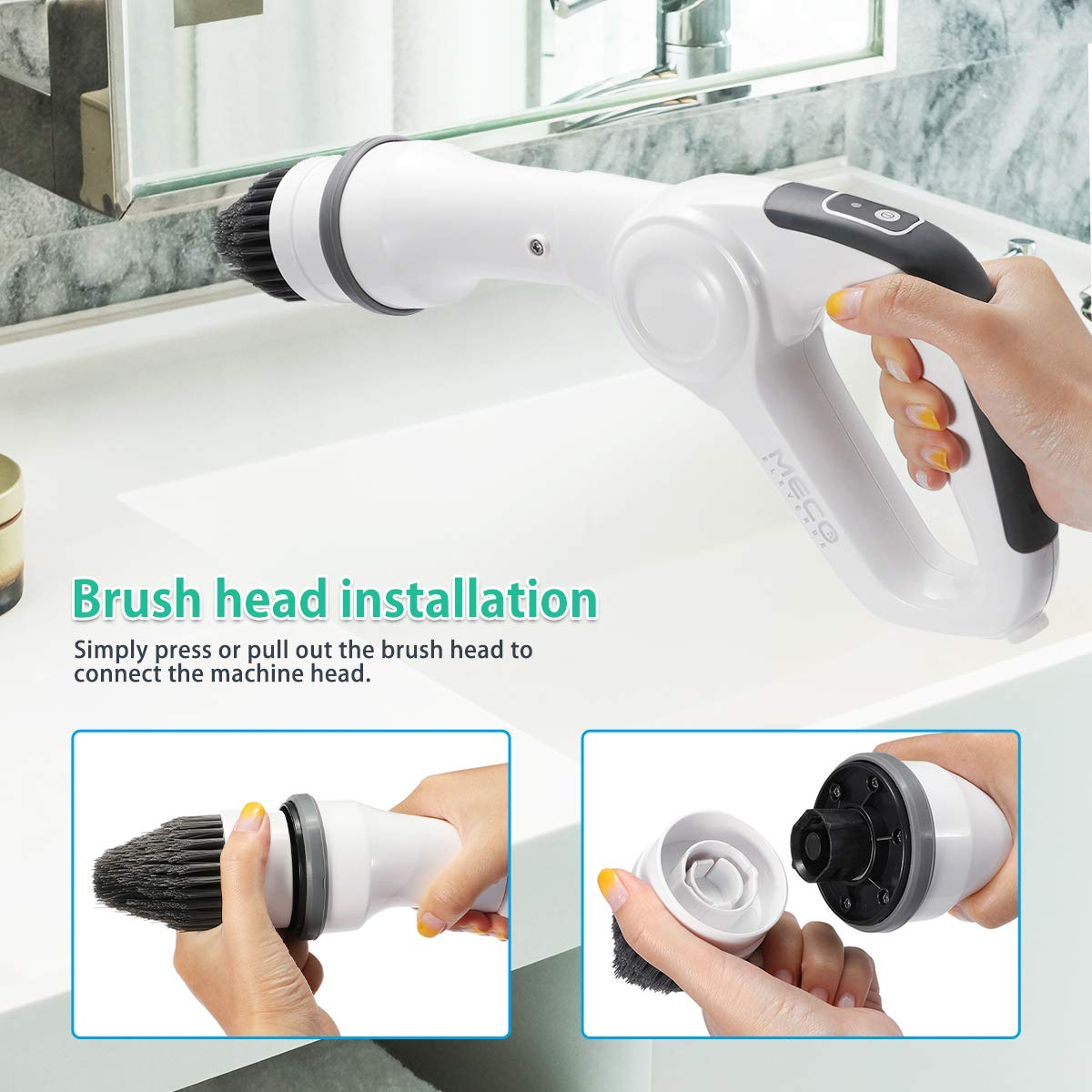 MECO Electric Spin Scrubber Power Cordless Tub and Tile Scrubber, 360 Handheld Cleaning supplies with 3 Replaceable Brush Heads, High Rotation for Bathroom, Floor, Kitchen, Car, Sink, Wall, Window by MECO (Image #5)