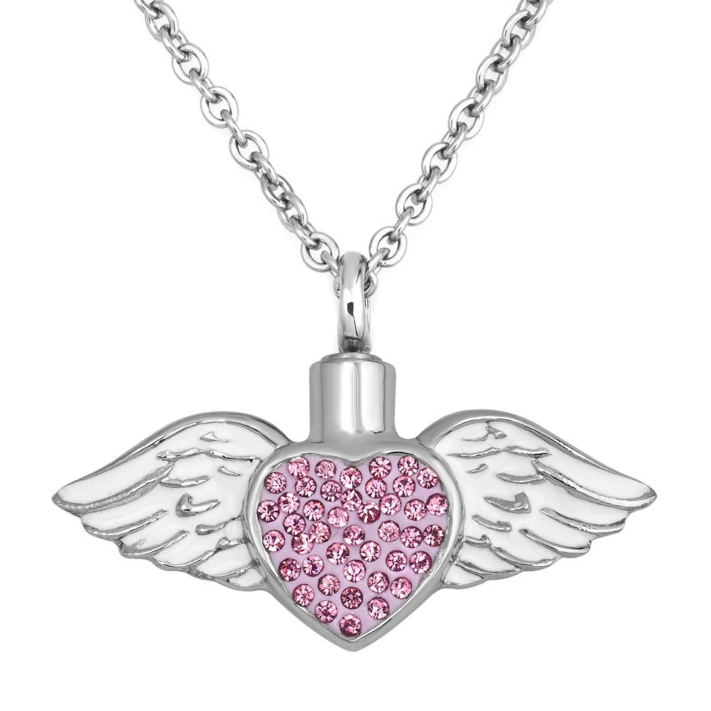 SexyMandala Urn Necklace for Ashes Pink Cystal Angel Wing Urn Jewelry Stainless Steel Memorial Pendant with Fill Kit SM_PDCU_AY73