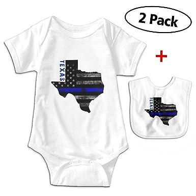 10f9bdee44088 Amazon.com: Leopoldson Retro Texas Thin Blue Line Baby Bodysuits ...