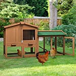 Tangkula Chicken Coop, Wooden Large Outdoor Poultry Cage (Such as Bunny/Rabbit/Hen) with Ventilation Door and Removable Tray & Ramp, 58'' Chicken Rabbit Hutch 13