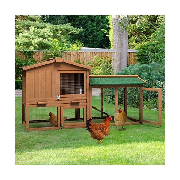 Tangkula Chicken Coop, Wooden Large Outdoor Poultry Cage (Such as Bunny/Rabbit/Hen) with Ventilation Door and Removable Tray & Ramp, 58'' Chicken Rabbit Hutch 3