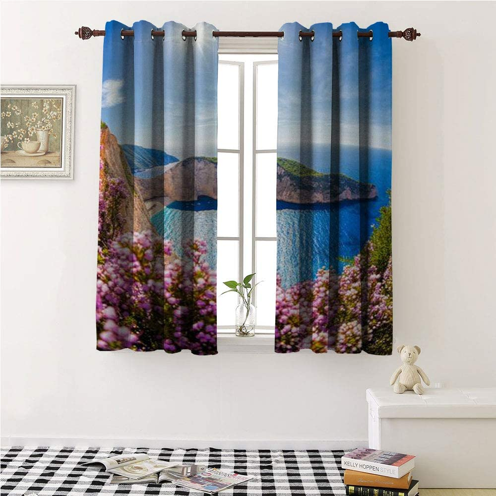 Iuvolux Window Decor Grommet Curtains navagio Beach with Shipwreck and Flowers Against Sunset Zakynthos Island Greece Wall Curtain 55 by 39 Inch