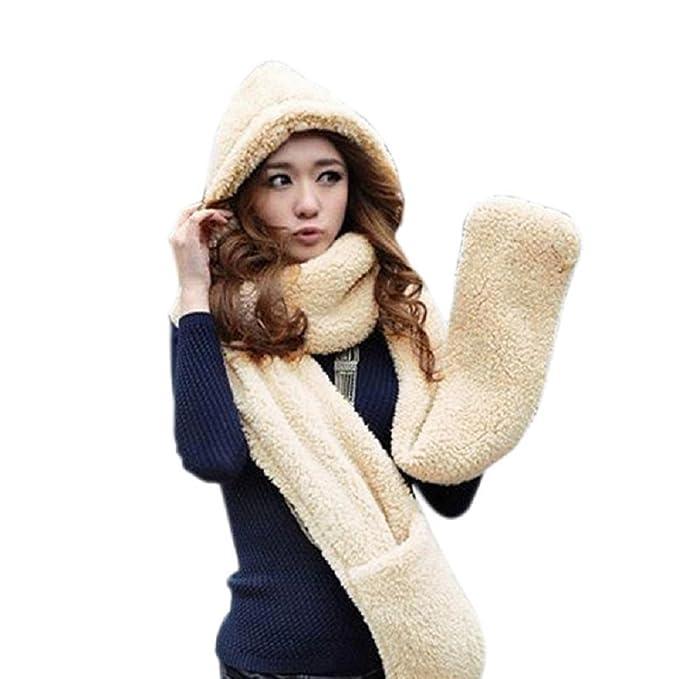 Espeedy Bufandas mujer, Invierno mujeres cálidas con capucha guantes ...