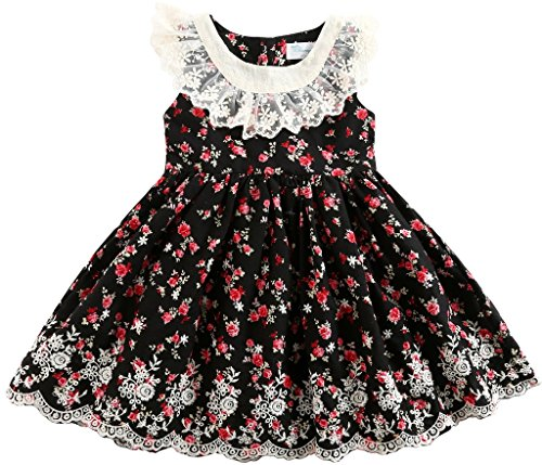 Sharequeen Girls Dress Flower Lace Red Rose Embroidery Ruffle Design Cotton Black 2-9T