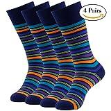 Patterned Dress Socks, LANDUNCIAGA Men Color Dress Socks Funny Colorful Socks,Wedding Groomsmen Socks,Colored Stripes Pattern Men Bulk Sock,4 Pairs