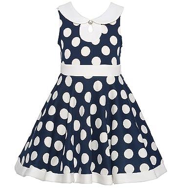 961437ba8ea Amazon.com: Bonnie Jean Big Girls' Navy White Polka Dotted Designer Dress:  Clothing