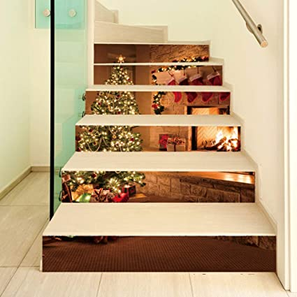 HomeARTS Escalera Pegatinas De Pared Calcomanías Extraíble Autoadhesiva Chimenea PVC Impermeable Escaleras Wallpaper para La Decoración De La Sala 6 Unids/Set: Amazon.es: Hogar