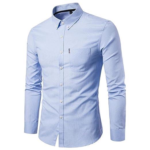 abf719249dfa Shirts Man Men's Pure Color Oxford-hizo Turn The Business Long Sleeve Shirts,  yanhoo