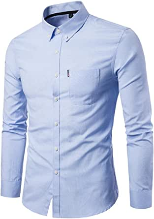 Camisas hombre El color puro de los hombres Oxford-hizo girar ...