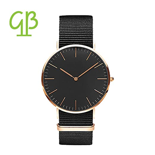 Disfrutar de pulsera Relojes Quartz Reloj Canvas Reloj de pulsera simple (Style goleden)