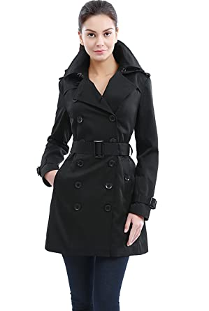 7828b554bd BGSD Women's Madison Hooded Waterproof Mid Length Trench Coat - Black XS