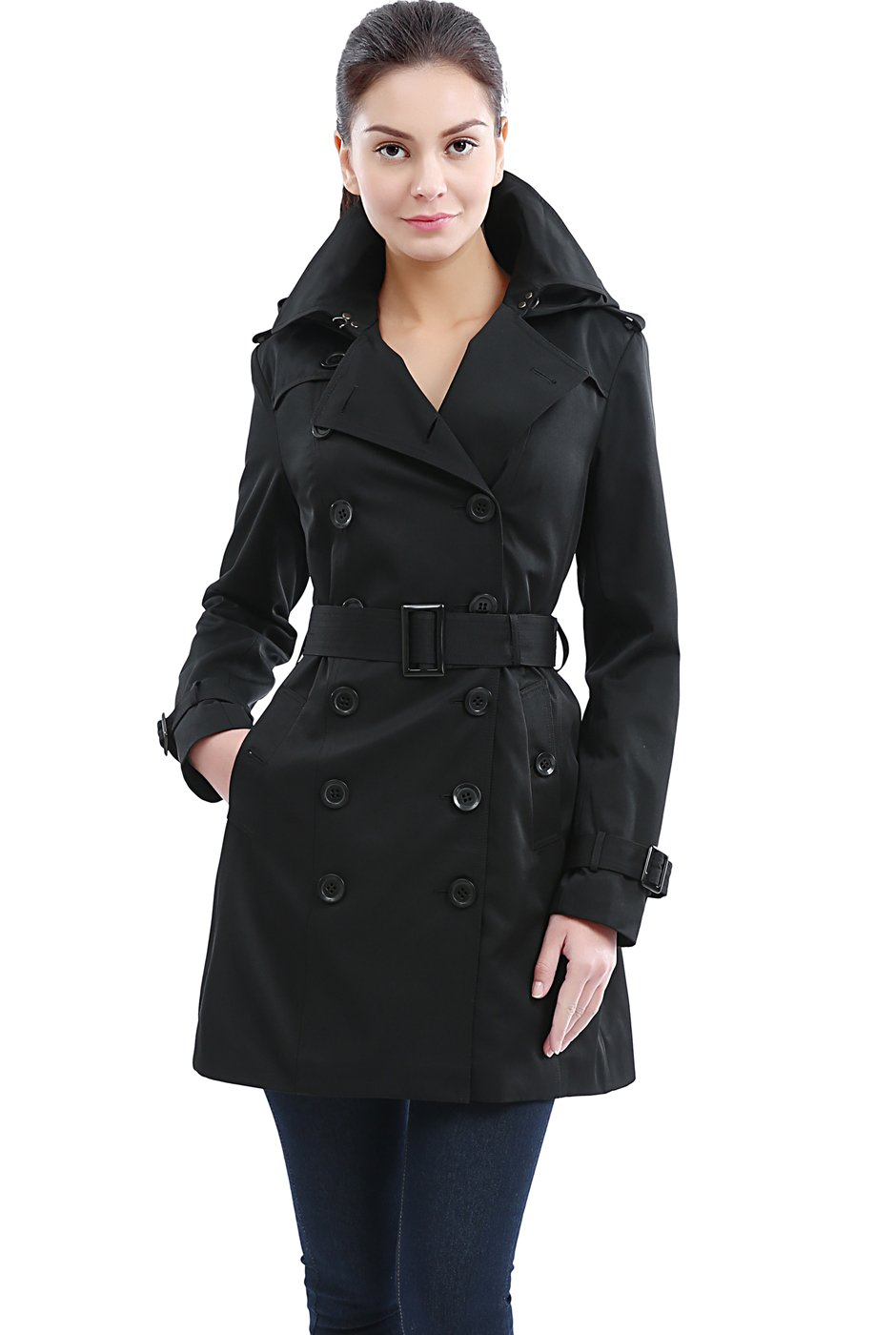 BGSD Women's Madison Waterproof Hooded Mid Length Trench Coat