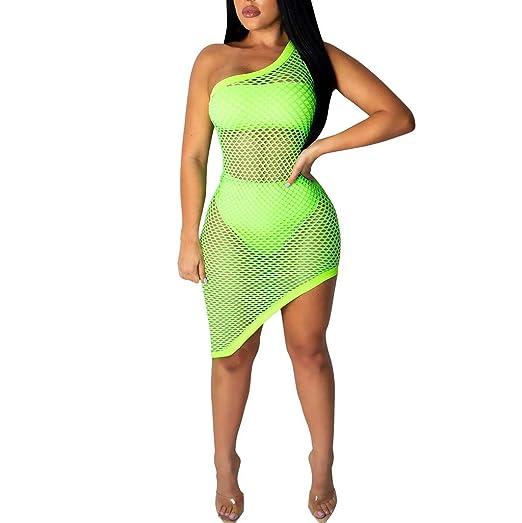 801d064673b001 mililian Women's Sheer Mesh Bikini Cover Up Swimwear Swimsuit Bathing  Summer Beach Dress Green