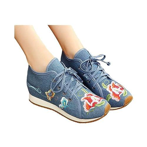 Zapatos Complementos Moda Ocio Cómodos Amazon Zapatillas es Mujeres Caminar Para Bordados Flores Rojas Y De Tela rnZqTrY