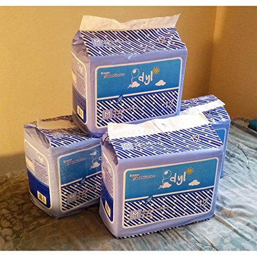 48 Diapers - DC Idyl (2017) - Medium/Large - light blue theme! plastic-backed adult baby - Case Connoisseurs