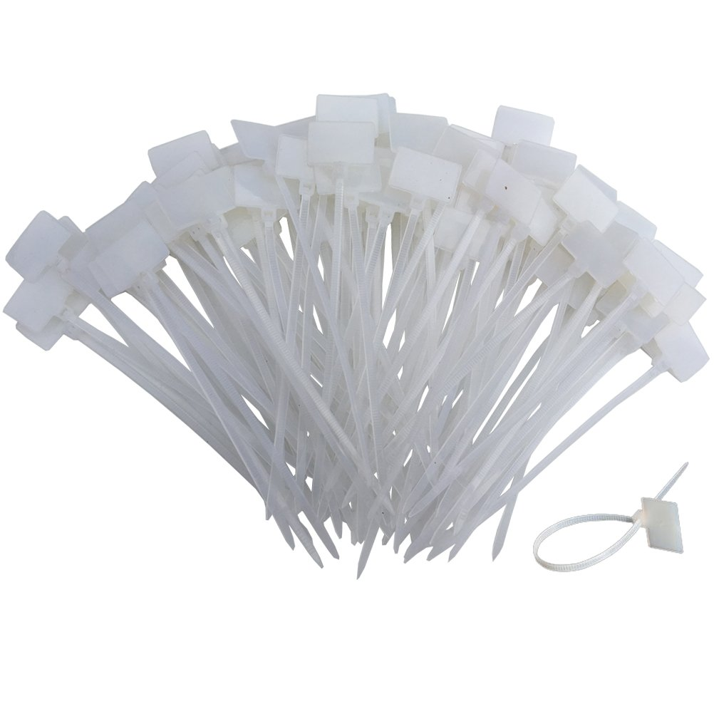 Huouo 200 PCS 4 Inches Nylon Cable Ties Self Locking Cord Tags Marker Label Write on Ethernet Wire Zip Ties Power Marking Label