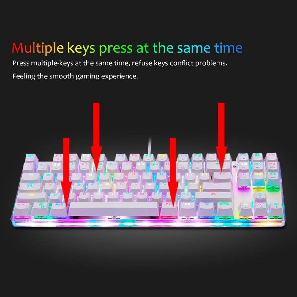 Color : Color1 AFANG Keyboard MOTOSPEED K87S USB Wired Mechanical Game Keyboard with RGB Backlight 87 Keys,Red Switch