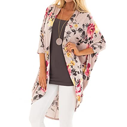 88351f3afd3a Hmlai Clearance Women Cotton Cardigan Floral Print Kimono Smock Cover Loose  Coat Top for Autumn Spring
