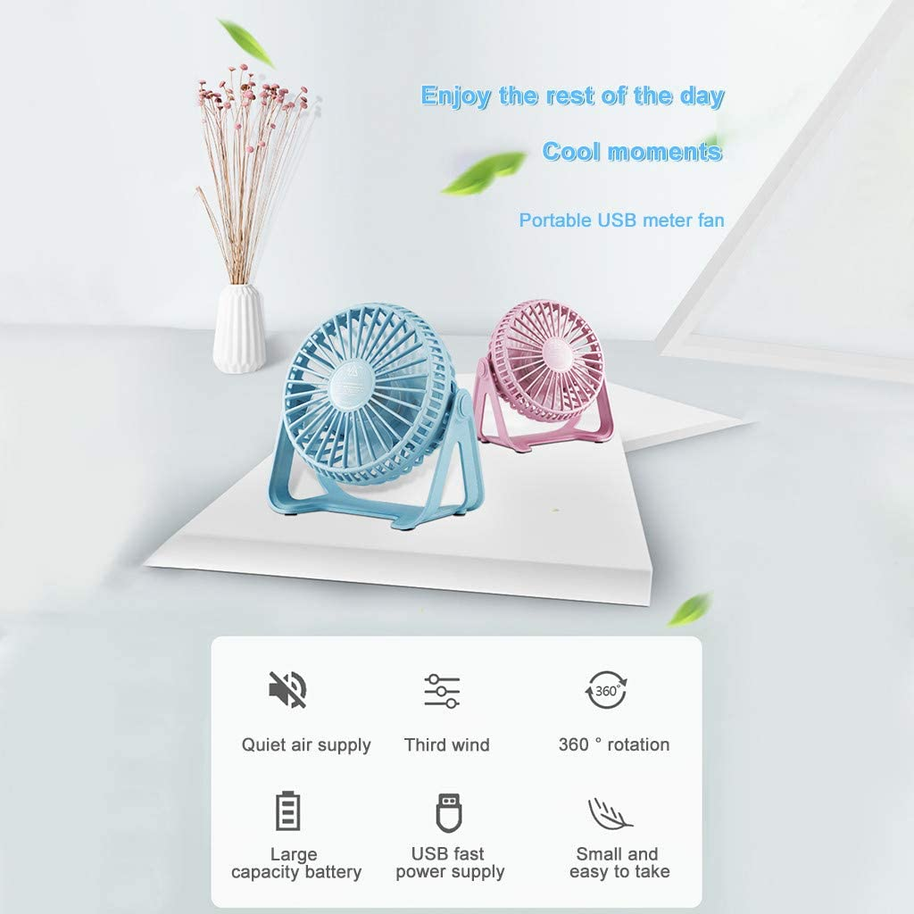 Baishitop SUPPION Summer Fashion Desktop Small Fan Home Office Can Rotate 360 Degrees Portable USB Charging Mini Fan