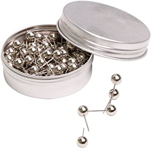 Tupalizy 100PCS 1/4 Inch Small Round Head Map Tacks Pins for Home Office Bulletin Cork Board Use and DIY Craft Project (Silver)