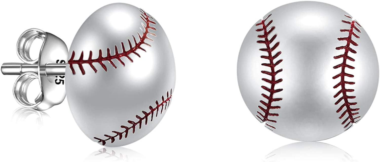 Tennis Soccer Volleyball Baseball Stud Earrings Softball Mom Ear Studs 925 Sterling Silver Sport Lover Jewelry For Unisex Women
