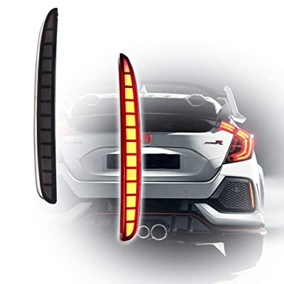 GTINTHEBOX Smoked Lens Full LED Bumper Reflector Lights Tail Brake Rear Fog Lamps for 2020-up Honda Civic Hatchback, Type-R or SI 4-Door Sedan: Automotive
